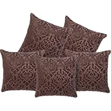 Belive-Me Velvet Embose Cushion Covers Set of 5 (24x24 inch / 60x60 cm, Brown)