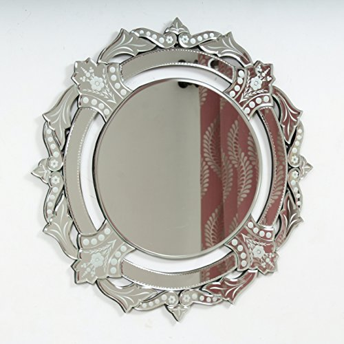 """Quality Glass Glass And MDF Venetian Wall Mirror (26""""x26"""", Silver And White, Round Shaped Mirror) - B0798NCVHJ"""