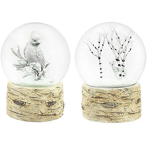 Diferentes tipos de piedra y 100 mm de cristal de abedul color nieve, juego de 2
