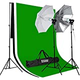 ESDDI Fotostudio Set Studioset Komplett Studioleuchte Foto Hintergrundsystem Photography Lighting Umbrellas Fotostudio profi Kit mit Studioschirme (weiß/schwarz) inkl 3x Hintergrundstoff, 85W E27 Fotolampe Set Lampenstativ Tragtasche