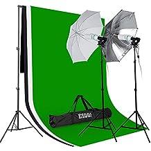 ESDDI Estudio Fotografico, 3x Fondo Fotografia (Croma Verde, Negro, Blanco), 2x Paraguas Fotografia, 2x Tripode, 2x Portalampara Fotografía, 4x Bombilla 85W, 1x Bolsa Portatil
