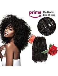 Oylove Cheveux 9A Grade Clip Dans Les Cheveux Mongol Afro Crépus Bouclés Clip Dans les cheveux 8 pcs 18clips / ensemble Vierge Mongole Clip de Cheveux Humains Ins Naturel Noir Couleur (1 faisceau 14 pouces, noir)