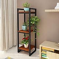 QJE Plant shelves Bastidores de Flores de Hierro Forjado Estante de Plantas de balcón de Varias Plantas Estante de 3 Capas 35 * 30 * 105 CM (Color : G)