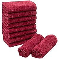 ZOLLNER 10 Toallas para la Cara, algodón 100%, 30x30 cm, Rojo