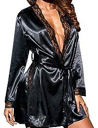 Frauen Sexy Spitze Patchwork Nachthemd Seide Babydoll Dessous Locker Elegant Nachtwäsche Lingerie Damen Negligee Lange Kleid Chic Unterwäsche Bademantel