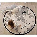 """caveen lienzo Baby alfombra mapa del mundo tipo plegable Nursery Kids alfombra redonda infantil juego alfombrillas Camping playa alfombra–diámetro 53"""""""