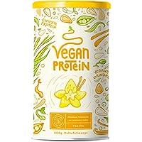 Vegan Protein   VANILLE   Pflanzliches Proteinpulver mit Reis-, Soja-, Erbsen-, Chia-, Sonnenblumen- und Kürbiskernprotein   600 Gramm Pulver