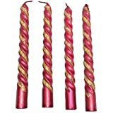PN Exclusive Decorative Twisted Maroon With Golden Gliter Candles Set Of 4