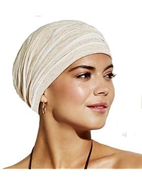 Gorro oncológico Ingrid blanco con rayas beige