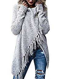 8d46c9618f39c9 ASSKDAN Damen Winter Böhmen Quaste Capes Strickpullover Strickjacke Poncho  Pullover Sweater