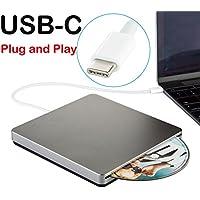 USB-C SuperDrive External CD DVD Drive USB DVD CD Burner Drive CD DVD+/-RW Rewriter/Writer/Player High Speed Data for latest Mac/MacBook Pro/Laptop/Desktop Support Windows10/7/8 Mac OSX(Grey)