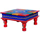 [Sponsored]NIKK E Handcrafted Multicoloured Square Wooden Chowki Handmade For Home Decor Gift Item. Handicraft Religious Article And Decorative For All Festivals.