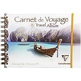 Clairefontaine 96777C - Álbum de fotos de viaje (con espiral doble y banda de goma, con papel de dibujo, Din A5, 14,8 x 21 cm, 30 hojas, 180 g), color blanco
