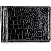 Escaro Black Croco Textured Glossy Fashion Money Clipper / Wallet