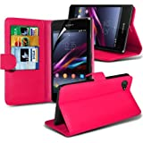 Sony Xperia Z1 Compact Premium PU Leder 3 Credit / Debit Card Slots Tasche Buch Style Case Skin Cover + LCD Screen Protector Guard (Hot Pink) von Spyrox