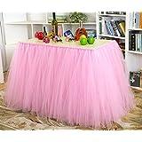 Romántico suave tul faldas de mesa con perlas para boda fiesta de cumpleaños, color rosa