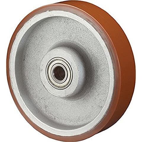 Ruota c10.257d.250mm Trgf.1600kg di mozzi ruota l.82mm, in alluminio./pressofuso di pur 95Shore A
