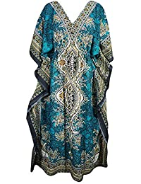 Pal Bro's Store Indian Women's Free Size Long Floral Printed Polyester Beach Wear Kaftan - Teal Blue