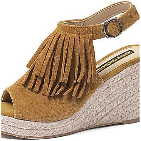 LFNLYX Zapatos de mujer-Tacón Cuña-Cuñas / Punta Abierta-Sandalias-Exterior / Casual-Ante-Negro / Caqui , black , us7.5 / eu38 / uk5.5 / cn38