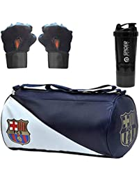 5 O' CLOCK SPORTS New Premium Sports Combo of FCB PU-Leather Gym Bag, Gloves and Spider Shake Gym/Fitness Kit/Combo/Gym Accessories/Gym Kit/for Men
