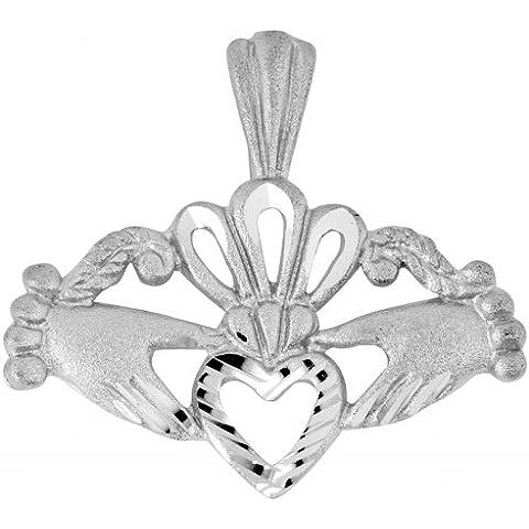 Piccoli Tesori - Collanae Pendente - - 14 ct 585/1000 Claddagh Oro Blanc - 14k Claddagh Pendente