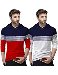BLIVE Color Block, Striped Men Hooded Neck Full Sleeve T-Shirt Navy,White,Red (Pack of 2)