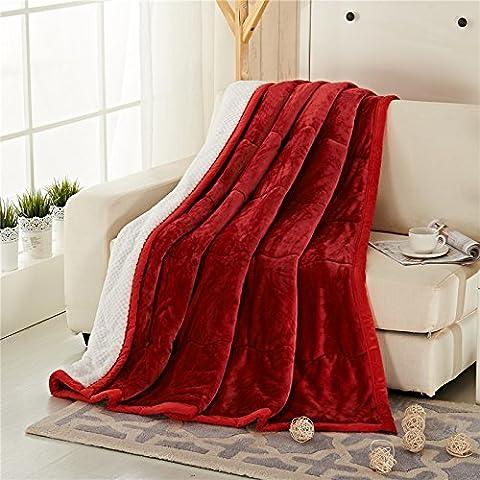 BDUK Coltre spessa coltre di flanella inverno coperte calde composito doppia lino corallo coperta di quilt ,200cmx230cm, il vino rosso