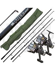 Lineaeffe 2x Free Carp 3lb Test Curve 12ft/3.6m 2pc Fishing Rods + 2 x 3BB Reels & Holdall