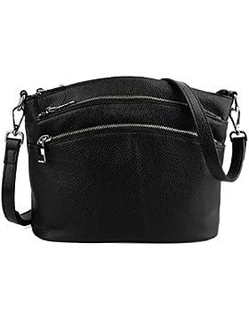 Yaluxe Damen Tasche lässiger Stil dreifacher Reißverschluss echtes Leder Cross Body Schultertasche Handtasche