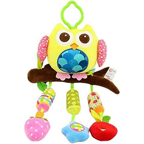 Happy Cherry Muñeca Sonajero Sonaja Colgante Juguete Juego Educativo Peluche de Animales Infantil para Bebés Recién Nacidos Niños Niñas Carrito Cochecito Cuna Infantil Multicolor -