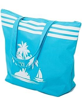 Strandtasche Damen Schultertasche Shopper Sommer TascheVerschluss Reißverschluss Größe 50 x 40 x 16 cm Palme-Muster...