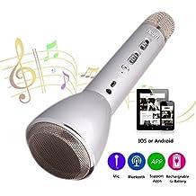 HooYL Micrófono Inalámbrico Portátil Bluetooth 3.0 Altavoz Incorporado para Karaoke Batería de 1800mAh 3.5mm AUX Compatible con PC/ iPad/ iPhone/ Smartphone, Color Plata