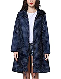 WOZOW Ladies Active Outdoor Rainwear Windbreaker Jacket Polka Dots Print  Hooded Lightweight Waterproof Windproof Long Style 307eba78a