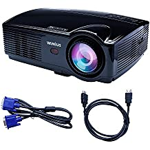 Proyector Full HD, Proyectores LED 3200 Lúmenes 1080P Proyector Video Portátil Projector LCD Home Cinema Apoyo 1920*1080 HDMI VGA USB SD para PC Portátil TV Juego Hogar PS3 XBO X360-Negro