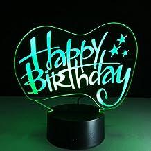 Lonshi Luci audio bluetooth USB a cinque colori 3D LED night light lampada di visione stereo di buon compleanno regali personalizzati