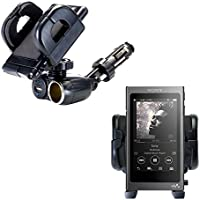 Dual USB / 12V Charger Car Cigarette Lighter Mount and Holder for the Sony Walkman A30