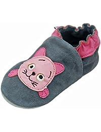 Lappa.de - Zapatillas de piel para niños (suela de ante, tallas de la 19 a la 31), diseño de gato, color gris y rosa