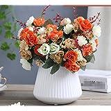 XPHOPOQ flores artificialeses Rosa Ceramica Jarrones flores Bouquet Artificial Interior Decoración plástico flores naranja