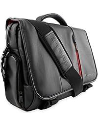 Maletín para Ordenador de Cuero de Snugg en Negro para Portátiles, Notebooks de hasta 39,6 cm (15,6 pulgadas)