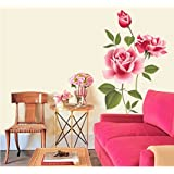 Decals Design 'Flowers Roses Valentines Love Romantic with Leaves' Wall Sticker (PVC Vinyl, 70 cm x 50 cm),Multicolour