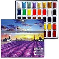 Set de 40 Acuarelas Japonesas Komorebi - Colores de Acuarela Profesional, para Artistas Principiantes y Consagrados - Juego de Pinturas de Alta Pigmentación, con Neón y Metalizados