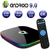 Android TV BOX, Q PLUS Android 9.0 TV BOX 2GB RAM/16GB ROM H6 Quad-Core Support 2.4Ghz WiFi 6K HDMI DLNA 3D Smart TV BOX