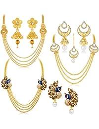 Sukkhi Gorgeous Pearl Gold Plated Wedding Jewellery Kundan Peacock Meenakari Multi-String Necklace Set Combo For Women (457CB2700)