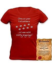 Ohne ein paar Katzenhaare ist man nicht richtig angezogen! Motiv Sprüche T-Shirt : )