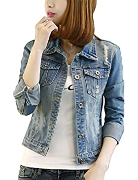 Donna Denim Giacca Manica Lunga Pulsante Oversized Jeans Jacket Outerwear Cappotti