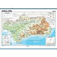 Mapa mural Andalucía mpreso a doble cara Físico / Político envarillado, con colgadores y tubo 140 x 100 cm