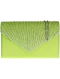Girly HandBags Pleated Satin Clutch Bag Diamante Shoulder Chain Elegant Prom Wedding Evening