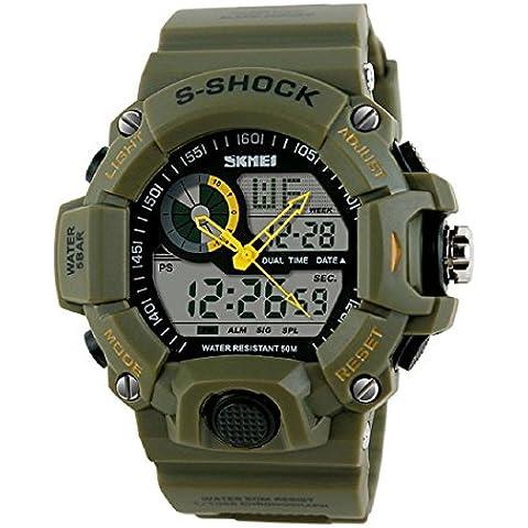 Deportes Reloj - SKMEI nuevo Hombres LED fecha digitales alarma impermeable caucho deportes reloj de pulsera ejercito verde
