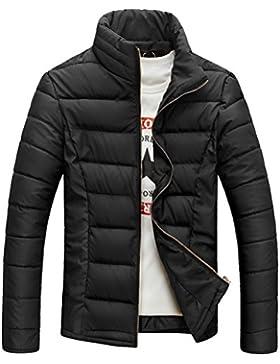 Zhuhaitf ropa de calle Men's Stand Collar Winter Jacket Coat Warm Outwear Windbreaker Jacket Solid Color