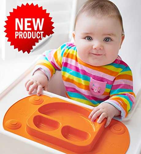 EasyMat® Mini EasyMat® for Highchair and Travel Feeding. Portable Baby Suction Plate amp; Placemat In One With Lid, Folding Sides amp; Carry Case. Small Sectional Baby Plate Perfect For Baby Led Weaning Age